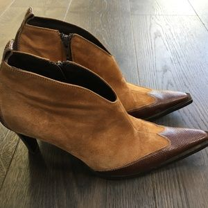 bebe Western Style Suede & Snakeskin Ankle Boots
